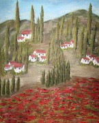 Red Poppies Pastels - Tuscany by Annette Battaglia