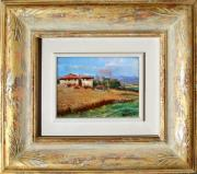 Het Paintings - Tuscany country with frame by Vaccaro