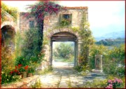 Italian Landscapes Paintings - Tuscany farmhouse by Antonia Varallo