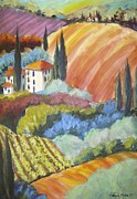 Therese Fowler-bailey Prints - Tuscany Hillside Olives Print by Therese Fowler-Bailey