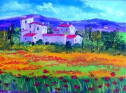 Poppies Field Paintings - Tuscany by Inna Montano