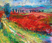 Red Poppies Drawings - Tuscany italy landscape poppy field by Svetlana Novikova
