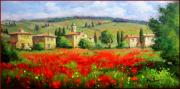 Italian White Poppy Paintings - Tuscany landscape by Bruno Chirici