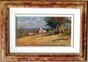 Het Paintings - Tuscany landscape with frame by Vaccaro