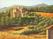 Manor Painting Posters - Tuscany Manor Italy Poster by Elaine Farmer