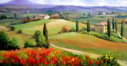 Italian White Poppy Paintings - Tuscany panorama by Bruno Chirici