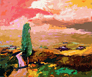Italian Landscape Mixed Media Prints - Tuscany Pink Sky Abstract Landscape Print by Ginette Callaway
