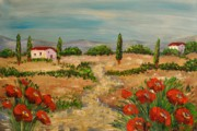 Villa Paintings - Tuscany Poppies by Sarah Kadlic
