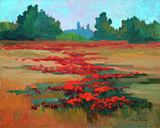 Chianti Tuscany Paintings - Tuscany Poppy Field by Diane McClary