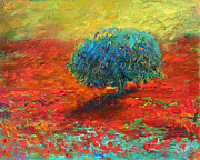 Landscape Prints Drawings Framed Prints - Tuscany poppy field tree landscape Framed Print by Svetlana Novikova