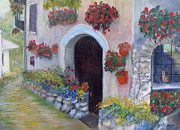 Red Geraniums Prints - Tuscany Street Print by Loretta Luglio