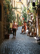 Italian Shopping Framed Prints - Tuscany Street Scene Framed Print by Diane Height