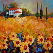 Vineyard Landscape Posters - Tuscany Sunflowers Poster by Marion Rose