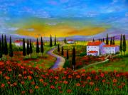 Tuscany Vineyard Oil Paintings - Tuscany sunset by Inna Montano