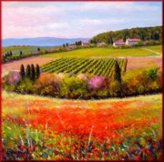 Italian Landscapes Paintings - Tuscany valley by Mario Bendinelli