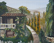 Villa Paintings - Tuscany villa by Athol Fahey