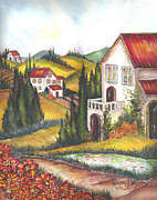 Landscapes Of Tuscany Paintings - Tuscany Villa by Kapal-Lou