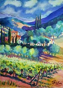 Italian Villas Paintings - Tuscany Vineyard Blues by Therese Fowler-Bailey
