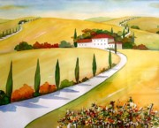 Yards Painting Framed Prints - Tuscany  Vinyards Framed Print by Meltem Kilic