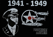 Black Glass Art Originals - Tuskegee Airmen by Jim Ross