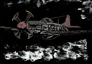 P51 Mustang Glass Art Posters - Tuskegee Night Flight Poster by Jim Ross