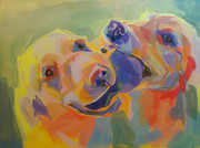 Golden Lab Paintings - Tussel by Kimberly Santini