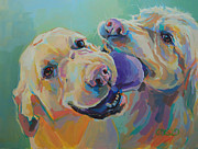 Golden Lab Paintings - Tussle by Kimberly Santini