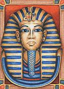 Egyptian Mummy Prints - Tuts Golden Mask Print by Amy S Turner
