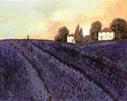 Landscape Glass Framed Prints - Tutta lavanda Framed Print by Guido Borelli