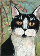 Black And White Cats Paintings - Tuxedo Boy by Cameron Reutzel
