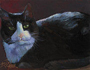 Custom Pet Portraits Prints - Tuxedo Cat Print by Billie Colson