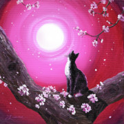 Sakura Paintings - Tuxedo Cat in Cherry Blossoms by Laura Iverson