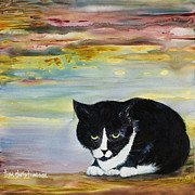 Tuxedo Cat Painting Framed Prints - Tuxedo Cat Framed Print by Tina Christiansen