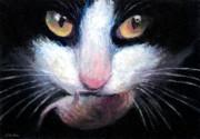 Tuxedo Cat With Mouse Print by Svetlana Novikova