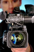 Sony Prints - Tv Camera And Cameraman Print by Crown Copyrighthealth & Safety Laboratory