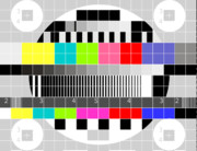 White Background Posters - TV multicolor signal test pattern Poster by Aloysius Patrimonio