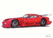 Coupe Drawings Originals - TVR Cerbera Speed 12 by Dan Poll