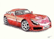 Automotive Drawings - TVR Sagaris by Dan Poll
