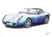 Coupe Drawings Originals - TVR Tuscan Speed Six by Dan Poll