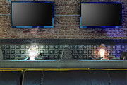 Visual Aid Prints - Tvs On Brick Wall In Restaurant Print by Magomed Magomedagaev