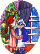 Catholic Art Drawings Originals - Twas the Night Before Christmas by Mindy Newman