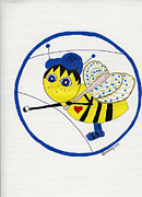 Baseball Cap Mixed Media Posters - Tweenie Bee Tommy Poster by Christy Woodland
