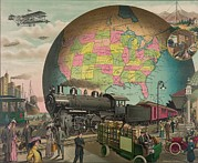 Airships Posters - Twentieth Century Transportation. 1910 Poster by Everett