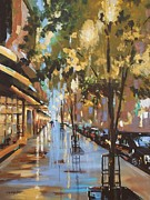Rainy Street Painting Originals - Twenty One East Hubbard Street Chicago by Sandra Strohschein