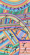 Color Pencil Drawings - Twenty Seven Stickmen Playing On Color by Carl Deaville