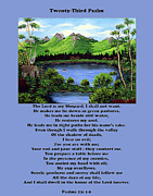 Flat Mixed Media Posters - Twenty-Third Psalm with Twin Ponds Blue Poster by Barbara Griffin