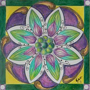 Spiritual Drawings Drawings Originals - Twety Second Lotus Flower by Samantha Rochard