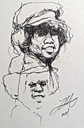 Jackson Five Drawings Posters - Twice Michael Poster by Wade Hampton