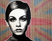 Twiggy Painting Metal Prints - Twiggy UK Metal Print by Dan Carman
