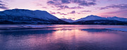 Snowy Evening Prints - Twilight above a fjord in Norway with beautifully colors Print by Ulrich Schade